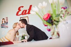 1950s Diner Engagement shoot by Sweet Caroline Photo