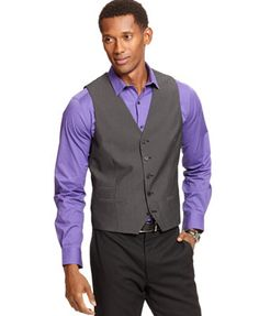 Alfani Big and Tall Weft Stripe Vest