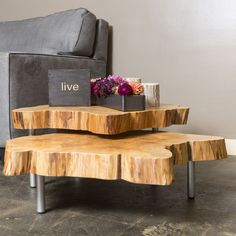 Enjoy a one of a kind table to gather around with family and friends. These live edge Maple Tables can either be nested together or broken a part. Natural cracks in the wood combined with a light fini