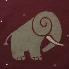 Curly Elephant Cushion or T Shirt. Part of Creature Curls by Jules Crowther at ShopAtJulesCrowther