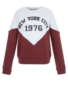 teens-burgundy-new-york-city-colour-block-sweater by new-look. #fashionableoutfit #impressive #fashiontrend #gorgeous #shoptagr