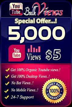 Buy 5,000 YouTube Views for $5 https://www.youtubebulkviews.com/buy-youtube-views.html