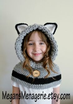 Wolf Hat  Wolf Hoodie  Wolf Cowl  Animal Hat  by MegansMenagerie