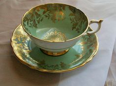 Vintage Paragon teacup green and gold teacups  by NewtoUVintage