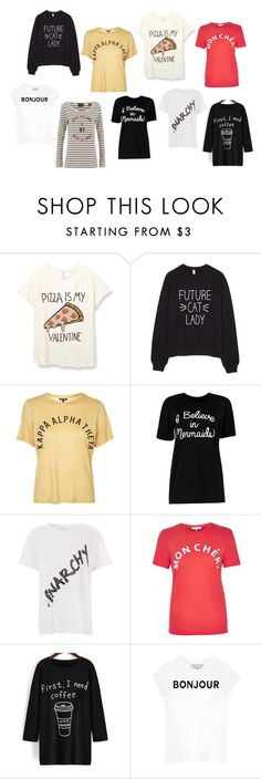 """""""Fave Slogan Tops"""" by leblogderosy on Polyvore featuring Topshop, French Connection, River Island, Maison Scotch, women's clothing, women, female, woman, misses and juniors"""
