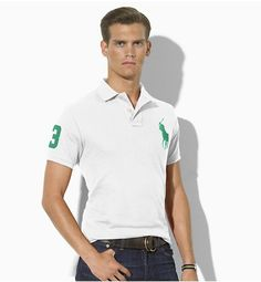 Ralph Lauren Men\u0026#39;s Custom-Fit Big Pony Short Sleeve Polo Shirt White / Green http