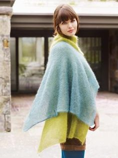 Knit this dramatic and versatile two-piece shawl from Sweet Shawlettes. A design by Jean Moss using our ever popular Kidsilk Haze, this pattern is suitable for beginners