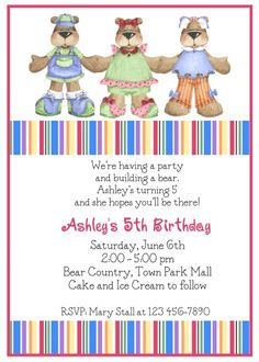 Get FREE Template Build A Bear Birthday Invitations Baby Shower
