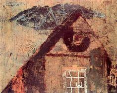 Endre Bálint (Hungarian, House at Szentendre, Oil on wood, 21 x cm. Art Database, Abstract Expressionism, Surrealism, Vintage World Maps, Museum, Symbols, Landscape, Modern, Artworks