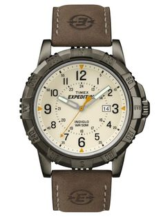 Timex Men's Expedition Rugged Metal Brown/Natural Leather Strap Watch for sale online Leather Men, Brown Leather, Timex Expedition, Field Watches, Timex Watches, Watch Model, Fashion Watches, Men's Fashion, Stitching Leather