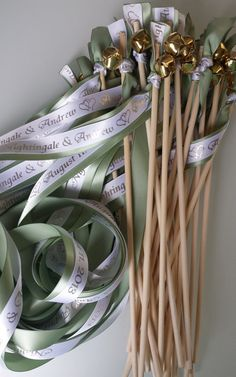 100 Double Ribbon Personalized  Wedding Wands with Bells: colors Sticks Fall Outdoor Blue Beach Farm Barn Ocean Streamers Bubbles Party