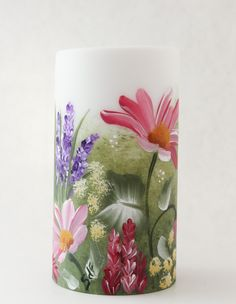 Hand painted LED Candle Wildflowers - pinned by pin4etsy.com