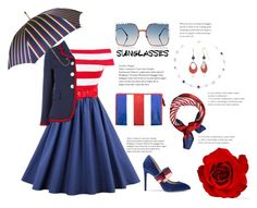 """""""Blue Red and White"""" by foxxyslang ❤ liked on Polyvore featuring Balenciaga, Fendi, Gucci, Silver Forest, Gloria Vanderbilt and Pasotti Ombrelli"""