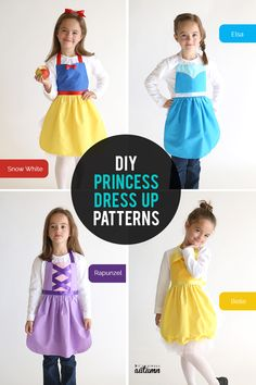 free sewing pattern for Snow White princess dress up apron - It's Always Autumn Get a free PDF sewing pattern for this adorable Snow White princess dress up apron. Handmade Christmas gift for a little girl + easy DIY Halloween costume. Dress Up Aprons, Dress Up Outfits, Diy Dress, Dress Up Clothes, Kids Dress Up, Dress Up Costumes, Dress Shoes, Shoes Heels, Sewing Patterns Free