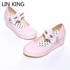 12.10$  Buy now - http://aliyo6.shopchina.info/1/go.php?t=32713843906 - LIN KING Sweet Bowtie Buckle Straps Lourie Fashion Women Wedge Pumps Platform Leisure Maid Party Shoes Lady Single Shoes 12.10$ #buyonlinewebsite