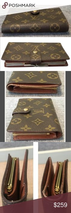 🦋Louis Vuitton🦋 Monogram French Kisslock Wallet Preloved Vintage Louis Vuitton Brown Monogram Portefeuille Viennois Bifold French Kisslock Wallet  Made in USA 💖 Datecode: SD0964  Convenient and Classy Way to Organize Your Cards, Cash, Coins and More!  -Snap Closure   -Kisslock Coin Compartment   -4 Credit Card Slots   -2 Slip Pockets  -Billfold Compartment   Scuffs inside the kiss lock compartment and the interior leather, peeling inside of the billfold compartment, and worn hardware. See…