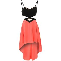 REVERSE Cutout Dip Hem Bralet Dress (€24) ❤ liked on Polyvore featuring dresses, vestidos, robes, short dresses, high low cocktail dress, hi lo dresses, red cut out dress and hi low dress