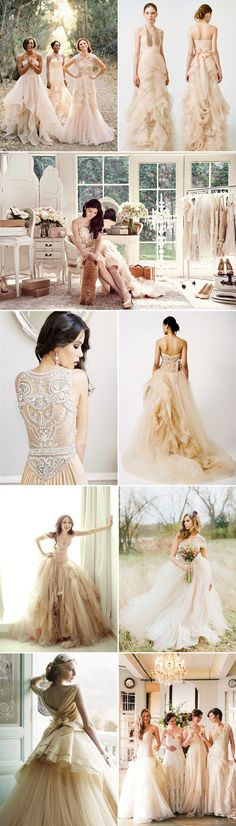 35 Colored Wedding Dresses with a touch of Glam - Nude
