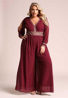 Plus Size Clothing | Plus Size Embroidered Sleeve Slit Chiffon Jumpsuit | Debshops