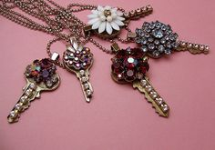 Cute idea for old keys - just glue on rhinestones, charms, beads, flowers, whatever - be sure to use a strong glue like E-6000 - These are just beautiful!
