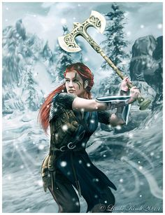 f Ranger Med Armor Battle Axe Conifer Forest Hills Winter Snow by Isriana lg Warrior Girl, Fantasy Warrior, Fantasy Rpg, Medieval Fantasy, Fantasy Girl, Warrior Women, Dnd Characters, Fantasy Characters, Female Characters