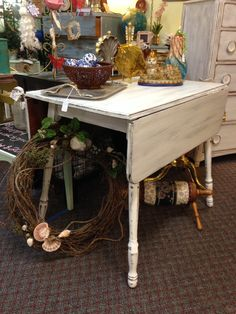 Shabby chic drop leaf table with antique white