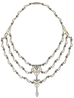 Antique enamel and diamond necklace by Carlo Giuliano. Designed as a graduated series of white and black enamel stylized links, accented by old-cut diamond spacers, the front suspending a swag terminating in a pear-shaped rose-cut diamond, mounted in 18K yellow gold, length 13 1/4 inches. Via Diamonds in the Library.