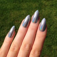 Ultra Holographic Silver Stiletto nails Nail by prettylittlepolish #nails #prettynails