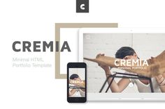 Cremia Minimal Portfolio HTML Template - Visual Hierarchy Free Portfolio, Portfolio Resume, Personal Portfolio, Portfolio Website, Portfolio Design, Responsive Template, Html Templates, Responsive Email, Creative Market Free