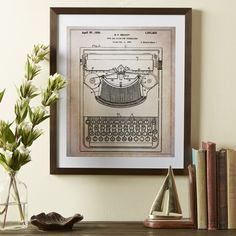 Found it at Wayfair - Typewriter Framed Blueprint