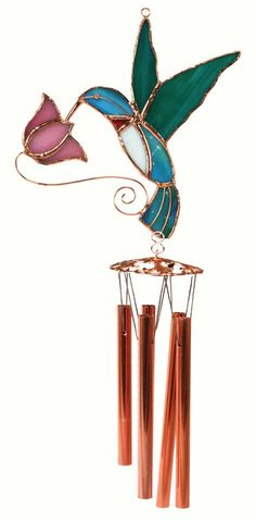 Hummingbird with Pink Flower Stained Glass Wind Chime. Wind Chimes Craft, Glass Wind Chimes
