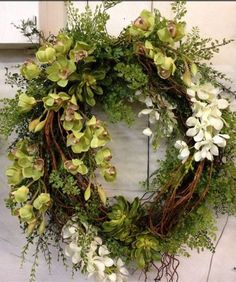 Items similar to Designer High Quality Silk Floral Wreath - Orchids, Succulents, Vines, Willow Branches - Grapevine Base on Etsy Wreath Crafts, Diy Wreath, Tulle Wreath, Wreath Ideas, Wreaths For Front Door, Door Wreaths, Burlap Wreaths, Ribbon Wreaths, Deco Nature