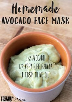 DIY face mask using natural products such as avocado, olive oil, and banana.