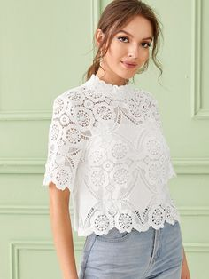 Shein Mock-neck Keyhole Back Guipure Lace Top With Cami Dressy Tops, Pulls, Mock Neck, Types Of Sleeves, Blouses For Women, Dresses Online, Classy Outfits, Lace Dress, Camisole