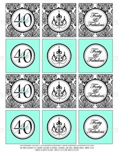 FAB 40 DIY Printables for your 40th Birthday!  Print at home as many times as needed!  Love! 40th Birthday Damask Black and Tiffany Blue by sunshinetulipdesign, $6.00