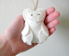 White Felt Owl Decor Ornament