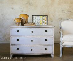 Eloquence - Gustavus Commode in French Grey.  30H x 43W x 23D