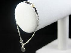 Black Rough Diamond Pearl Bracelet - Sterling Silver Initial Bracelet - Personalized Raw Diamond Jewelry - April Birthstone