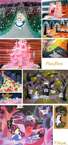 Mary Blair concept art for Alice in Wonderland. Mary Blair, Walt Disney Animation Studios, Sushi Bar, Chesire Cat, Posca Art, Tsumtsum, Disney Artists, Disney Kunst, Disney Concept Art