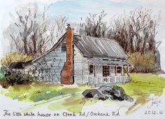Little house. Watercolour and ink sketch by Antje Gilland.
