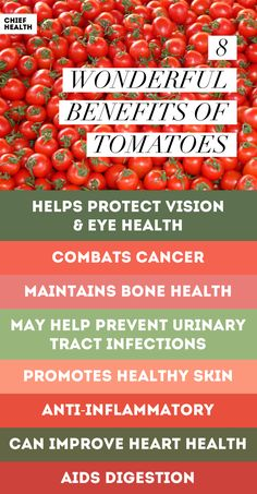 The health benefits of tomatoes include improved heart health, vision and eye protection, healthier skin, and more.