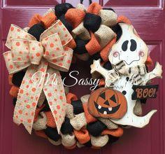 Halloween Wreath Ghost Wreath Halloween Burlap by MsSassyCrafts