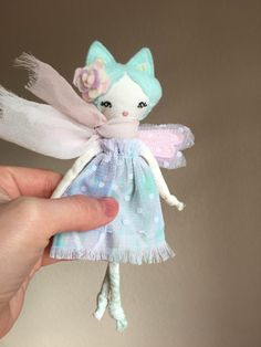 "Tiny Kitty Fairy Doll, About 6.5"" tall - Liberty Lavender Dolls"