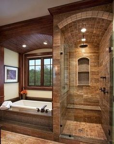 Master Bathroom Walk In Shower Ideas is part of Rustic bathroom designs Among the ideas is to get wood vanities with its normal wood finish without the laminates If you're looking for master bath - Dream Bathrooms, Beautiful Bathrooms, Small Bathrooms, Modern Bathrooms, Log Cabin Bathrooms, Country Bathrooms, Rustic Bathroom Designs, Shower Designs, Design Bathroom