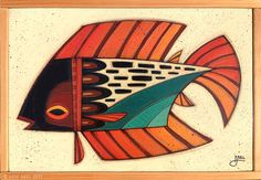 """""""Fish Outta Water 049"""" © Erik Abel 2015  13.5x19.5  Acrylic, marker, colored pencil on wood. Frame: Reclaimed Wood. ABEL"""