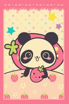 Kawaii panda and strawberry