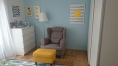 Baby boy room blue + yellow