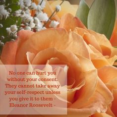 No one can hurt you without your consent. They cannot take away your self-respect unless you give it to them - Eleanor Roosevelt -