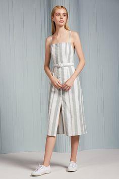 ca9bf0a757e THE FIFTH POETIC STRIPE DRESS sage w white
