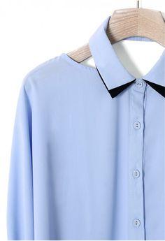 blue shoulder cut-out blouse.